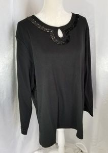 Quacker Factory Black Sequined Tunic